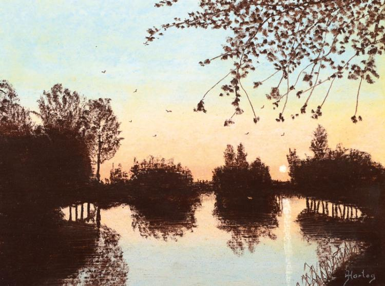 Jaap Hartog, 1909-?, 'Avend in de polder'