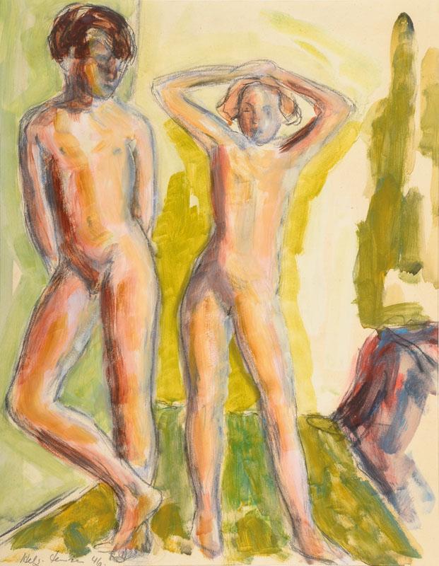Helge Jensen, 1899-1986, two nudes in landscape