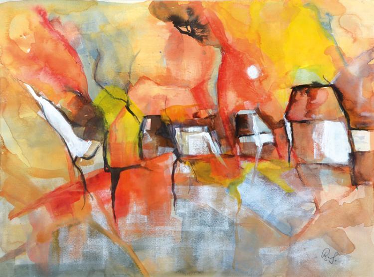 Contemporary artist, acrylic/mixed media
