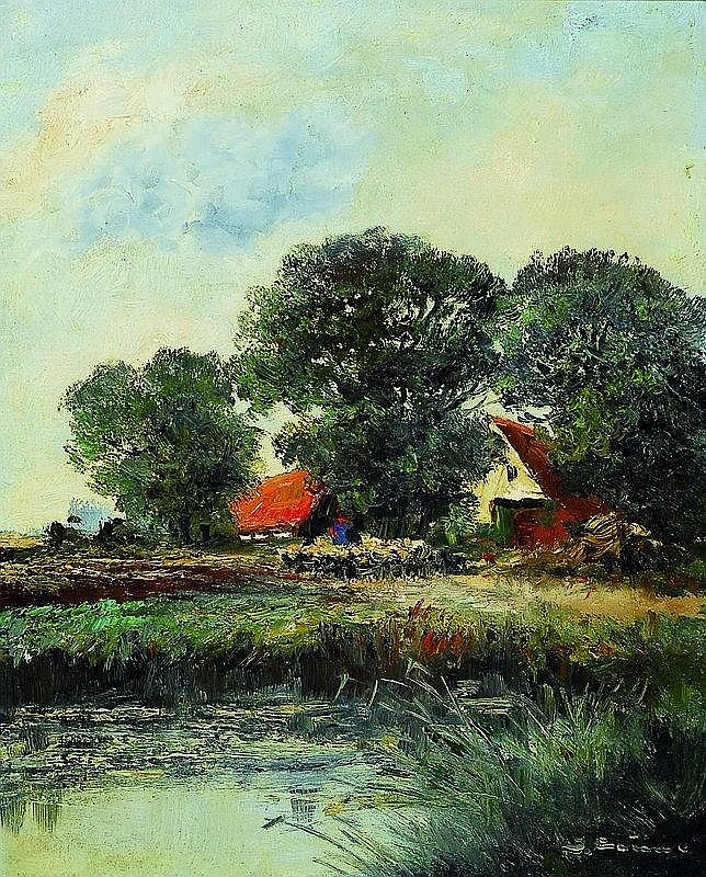Jean Coune, 1900-1963 Dusseldorf, landscape onthe