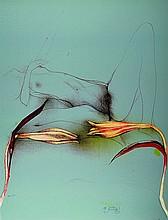 Bruno Bruni, born in 1935 in Gradara, lithography,