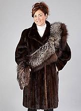 Minkcoat, size approx. 40/42, darkbrown, length