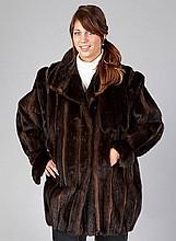 Minklongjacket with leather, size approx. 42,