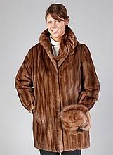 Saga-Mink-Nerzlongjacket, size approx. 40/42,