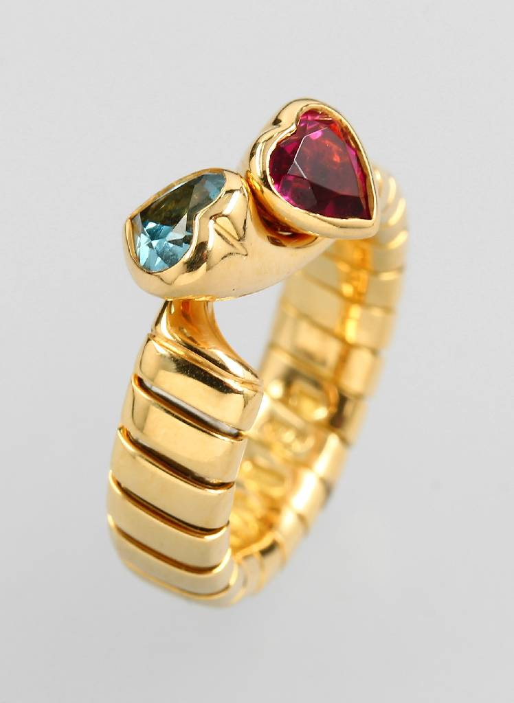 18 kt gold BULGARI ring with coloured stones