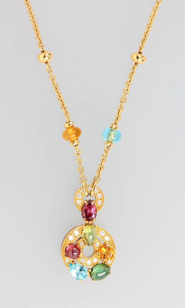18 kt gold BULGARI necklace with coloured stones