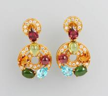 Pair of 18 kt gold earrings with coloured stones