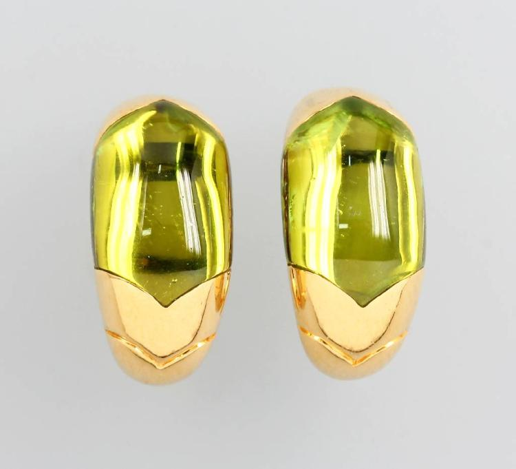 Pair of 18 kt gold earrings with peridot by BULGARI