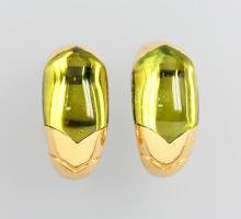 Pair of 18 kt gold earrings with peridot by BULGARI