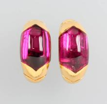 Pair of 18 kt gold earrings with tourmalines by BULGARI