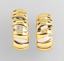 Pair of 18 kt gold BULGARI ear hoops
