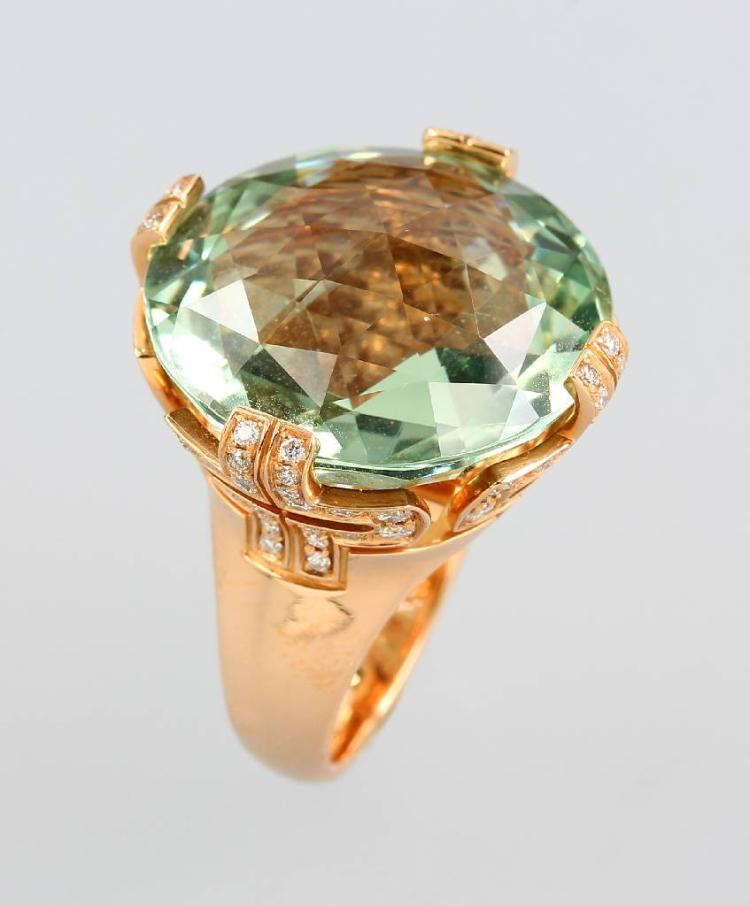 18 kt gold BULGARI ring with beryl and brilliants