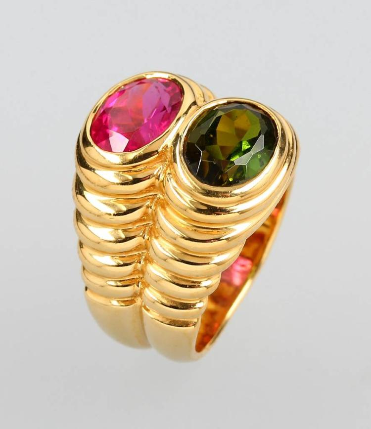 18 kt gold BULGARI ring with tourmalines