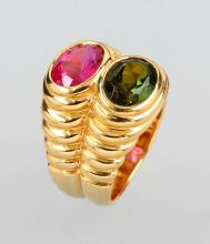18 kt gold BULGARI ring with tourmalines