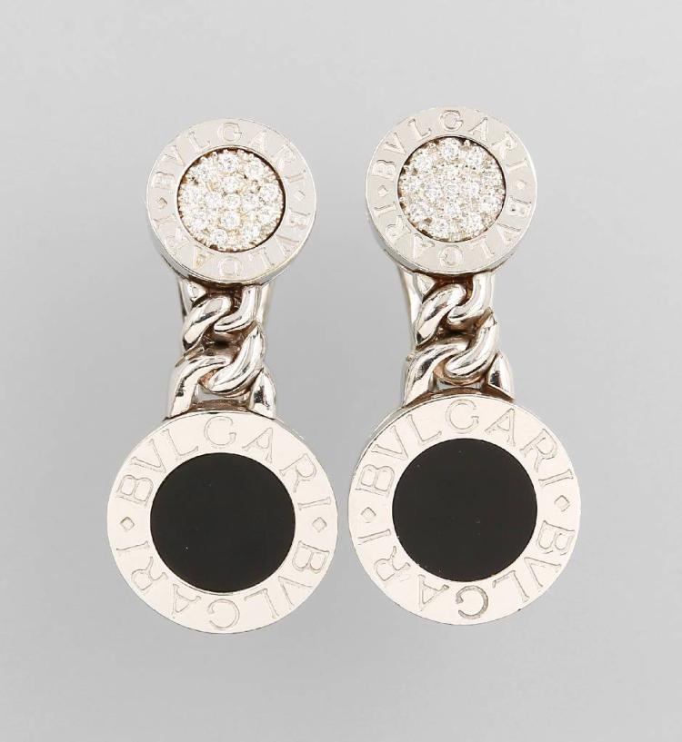 Pair of BULGARI earrings with onyx and brilliants