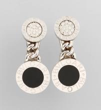Pair of BULGARI earrings with onyx and brilliants