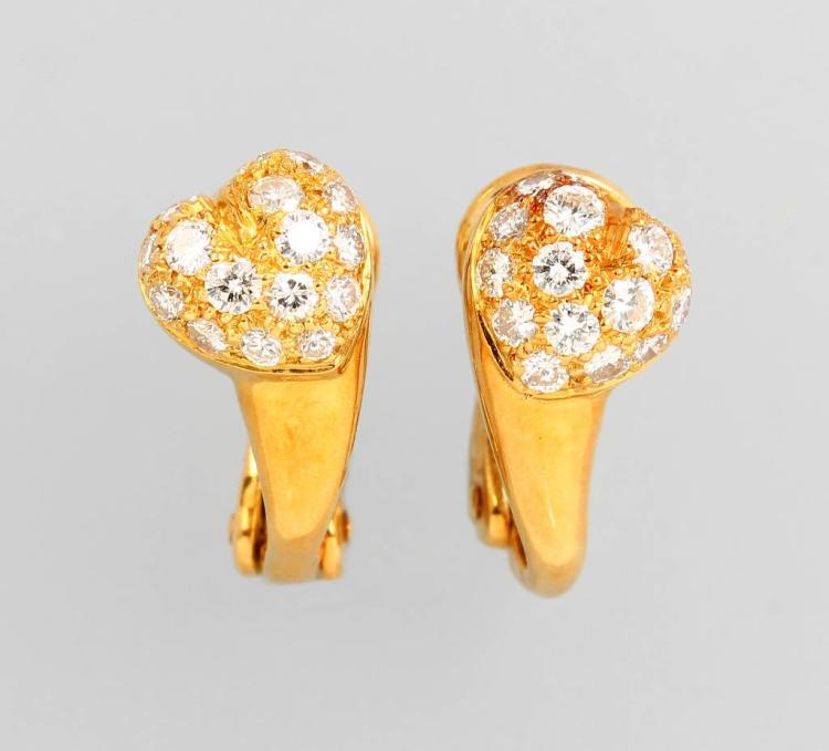 Pair of 18 kt gold CARTIER earrings with brilliants
