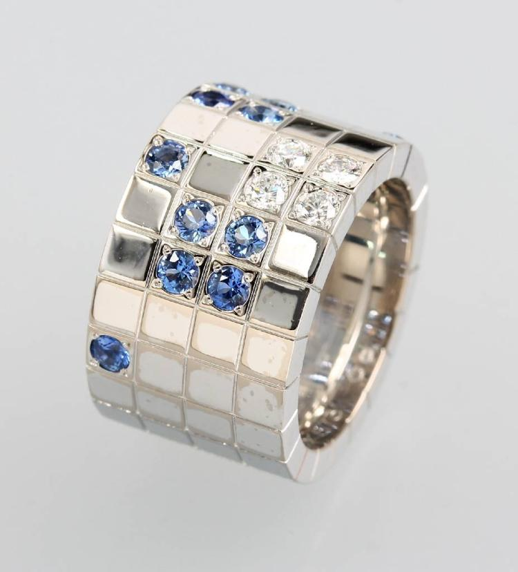 18 kt gold CARTIER Ring 'Lanieres' with sapphires and brilliants