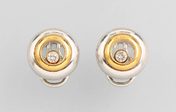 Pair of CHOPARD earclips with brilliants