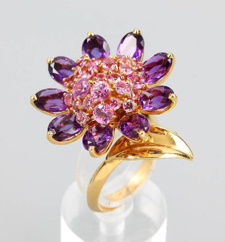 VAN CLEEF & ARPELS blossoms-ring with amethysts and pinksapphires