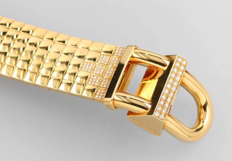 Exclusive 18 kt gold VAN CLEEF & ARPELS ladies wristwatch 'Cadenas' with brilliants