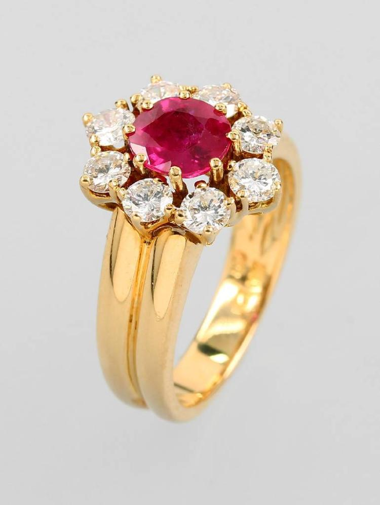 18 kt gold BUCHERER blossom ring with brilliants and ruby