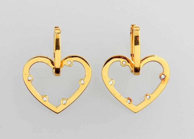 Pair of 18 kt gold JETTE JOOP earrings with brilliants