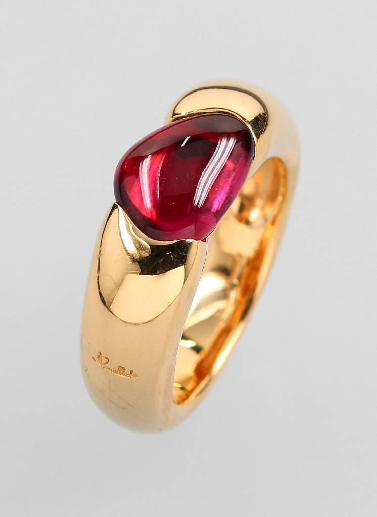 18 kt gold POMELLATO ring 'Sassi' with tourmaline