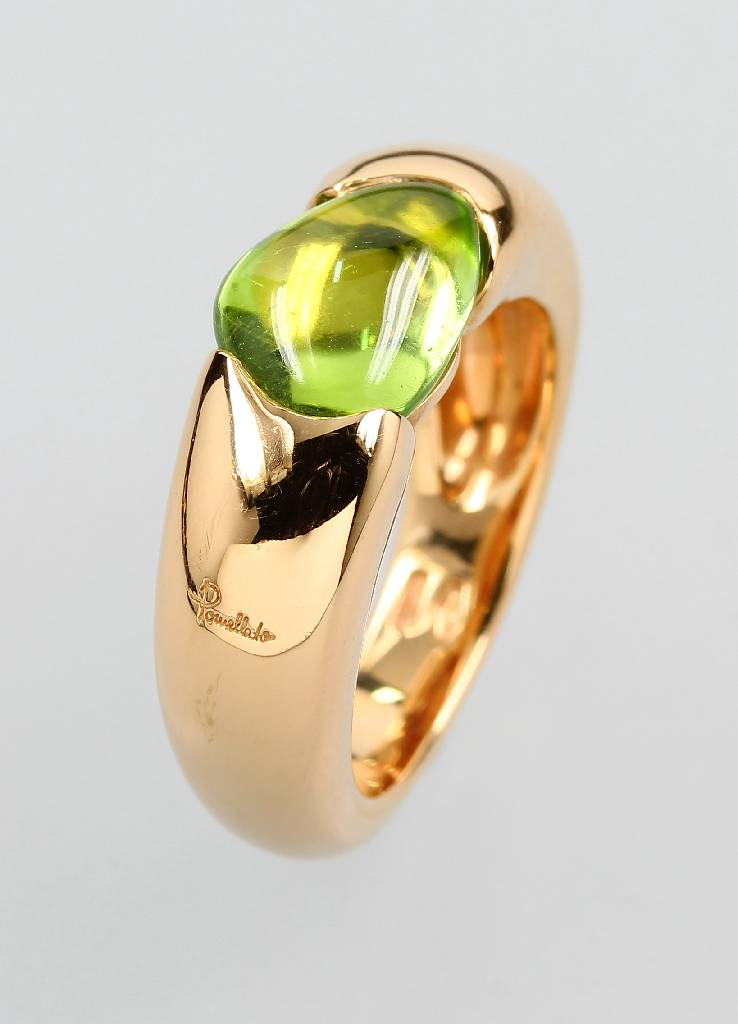 18 kt gold POMELLATO ring 'Sassi' with peridot
