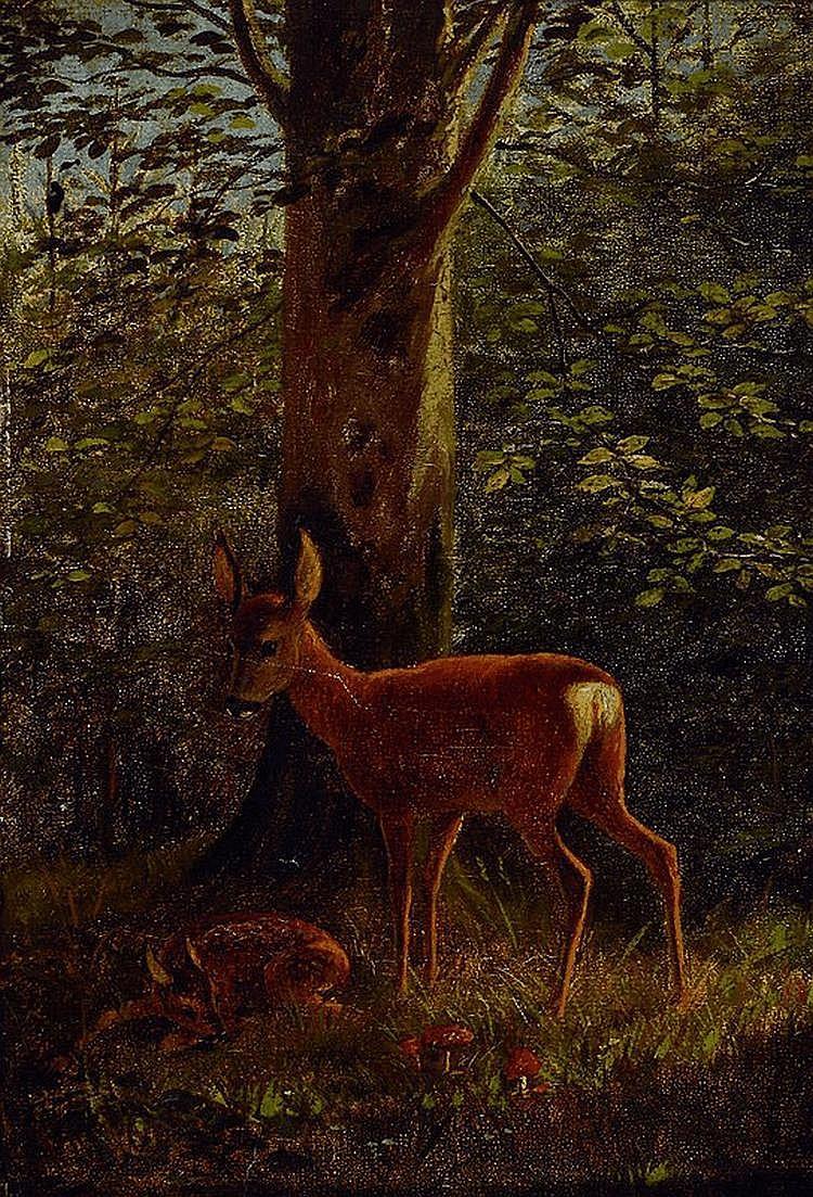 Thiele, Arthur, 1841-1919, Reh mit Kitz im Wald,