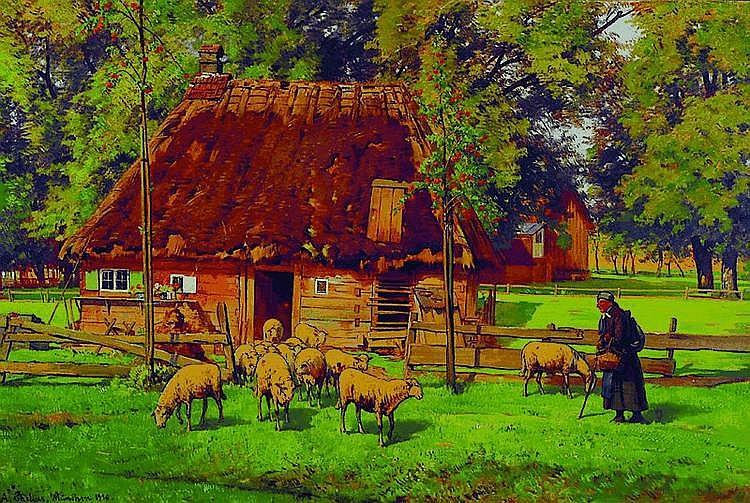 Chelius, Adolf, 1856-1923, Schäfer mit Tieren,