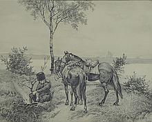 Henri Gervex, 1852-1929, soldier with two horses