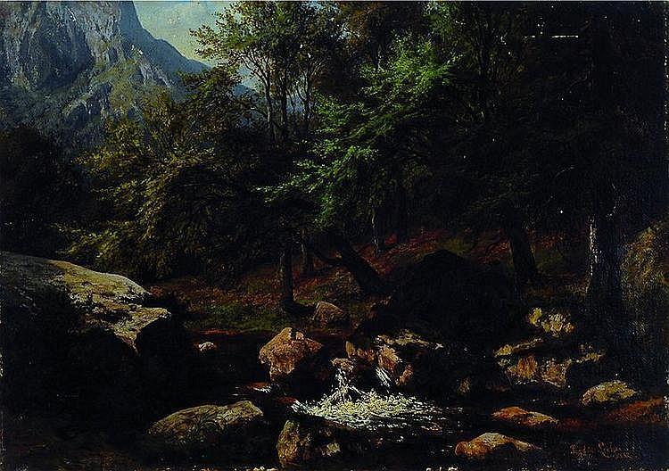 Lechner, Ferdinand, geb. 1855, Bachlauf am Wald,