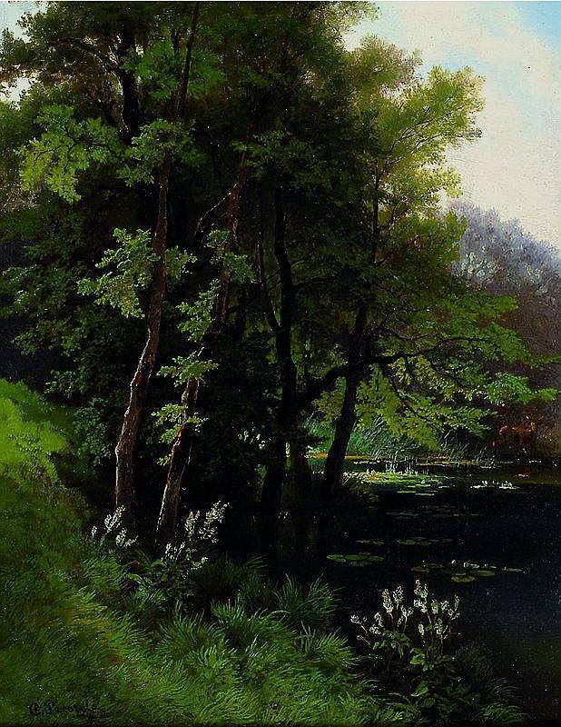 Prestele, Carl, geb. 1839 München, Reh am Ufer