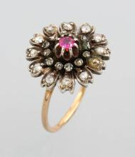 14 kt blossom gold ring with diamonds and ruby