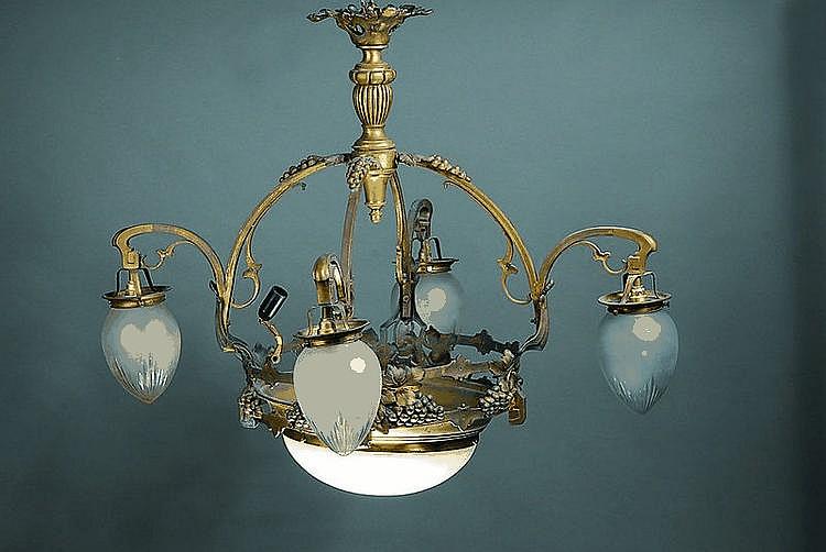 Große Deckenlampe, deutsch, um 1910/20,