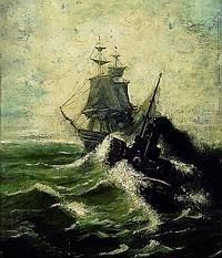 Mevius, Hermann, 1820-1864, Schiff auf bewegter