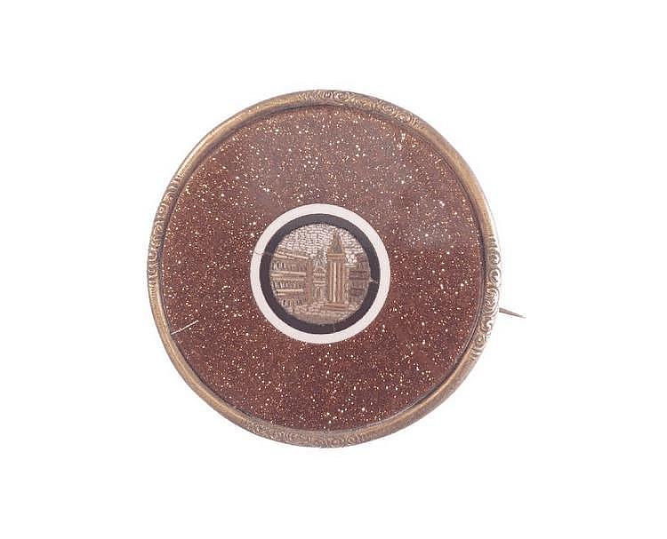 Brosche mit Goldfluß und Mikromosaik, GG 750/ 000,