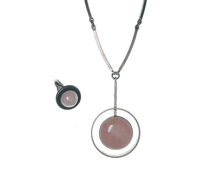 Schmuckset mit Rosenquarz, 925er Silber, Dänemark