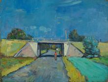 Friedrich Josse, 1897-1994, viaduct, oil / artist's board,