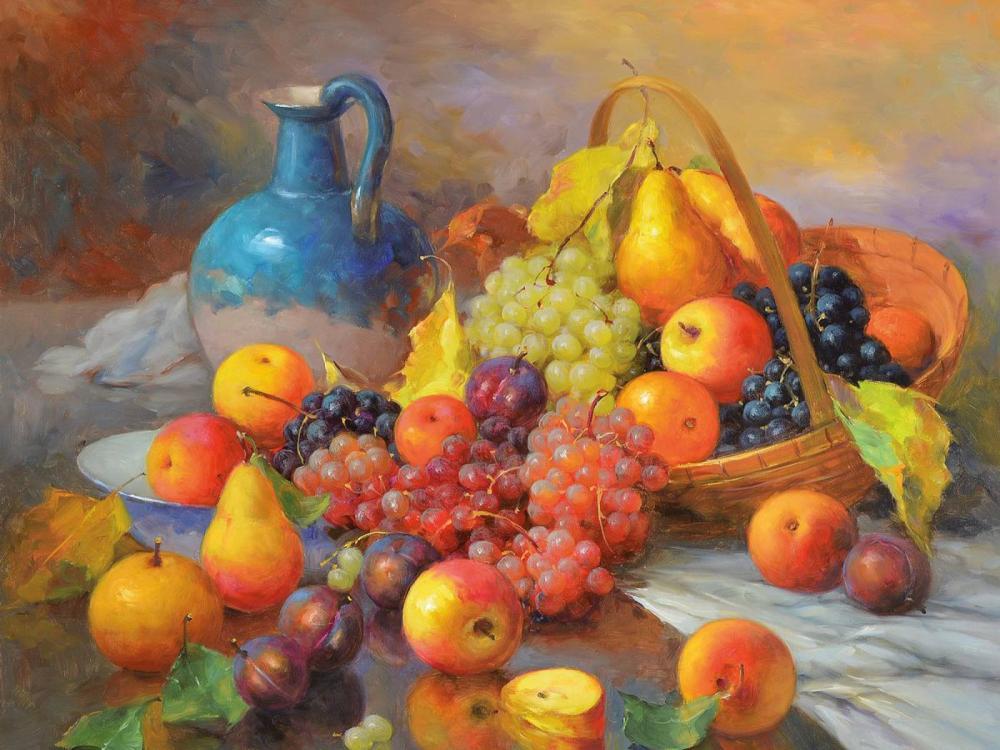 Oskar Ramos, born 1948, still life with apples