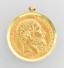 Gold coin with setting: 20 Francs, Belgium 1874