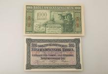 Lot 2 banknotes, German Reich