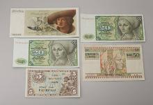 Lot 5 banknotes, Germany