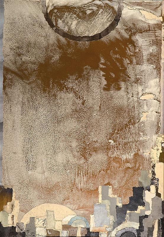 Yitzhak Greenfield, contemporary Israeli artist, Gold Sky