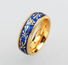 WELLENDORFF 18 kt gold ring with enamel and brilliant