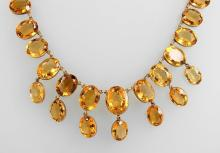 8 kt gold necklace with citrines