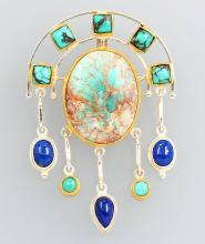Pendant with lapis lazuli and turquoises