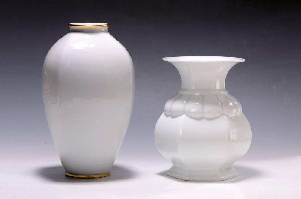 2 vases, Rosenthal, 1960s, porcelain, white, one with