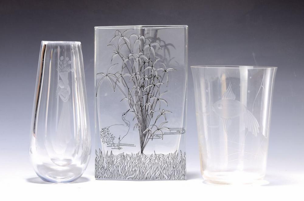 Lot of three glass vases, 1930-40s, 1 of Orrefors